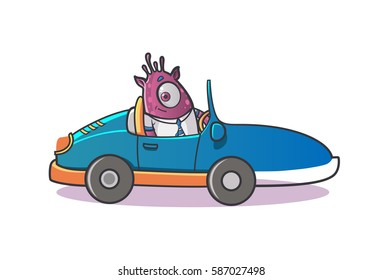 Professional Monster driving a car. Vector Illustration. Isolated on white background.