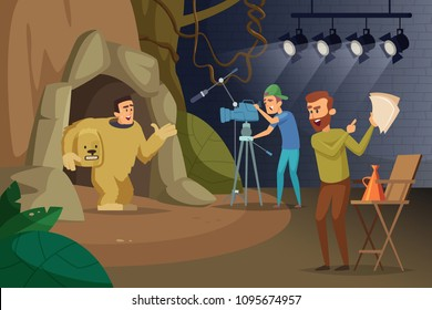 Professional movie production. Videographer and actors. Production film, professional cinema industry. Vector illustration