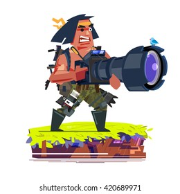 a professional muscle photographer holding huge camera to take a photo of bird. tools and equipment of photographer concept. character design - vector illustration