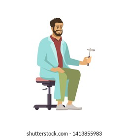 Professional neurologist flat vector illustration. Male doctor with neurological hammer isolated cartoon character on white background. Medical worker in uniform. Visiting therapist, practitioner
