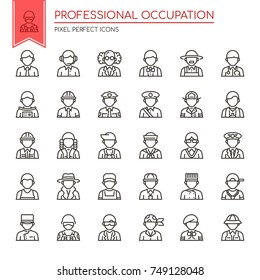 Professional Occupation , Thin Line and Pixel Perfect Icons