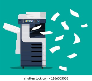 Professional office copier, multifunction printer printing paper documents isolated vector illustration. Printer and copier machine for office work. Vector illustration in flat style