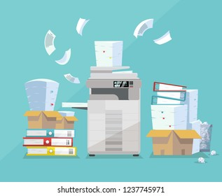 Professional office copier, multifunction scanner printer printing paper documents with pile of documents, stack of papers in cardboard boxes. Flat cartoon vector illustration.
