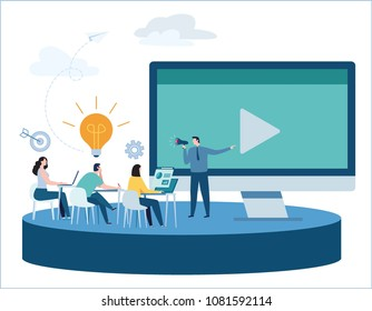 Professional online training vector illustration.education webinar banner.business courses video tutorial concept.skill development.flat cartoon design for mobile and web