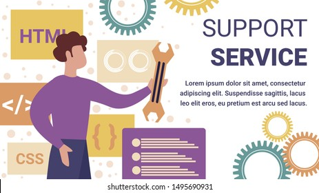 Professional Operator of Technical Support Service for Computers Holding Wrench in Hands Working on Fixing Bugs in Software. Programmer Client Help. Cartoon Flat Vector Illustration, Horizontal Banner