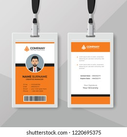 Professional orange ID card design template