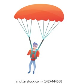 Professional parachuter icon. Cartoon of professional parachuter vector icon for web design isolated on white background