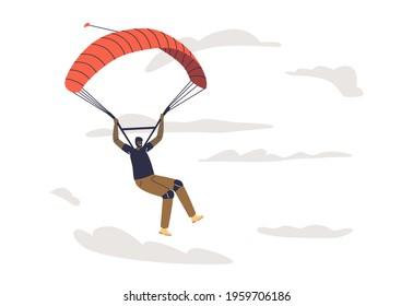 Professional parachutist skydive. Paraglider jump with parachute fly happy smiling. Male cartoon character paragliding. Extreme sport hobby concept. Flat vector illustration