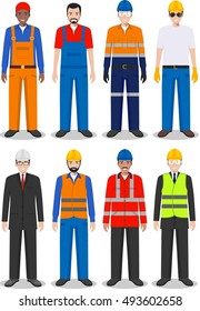 Professional people concept. Set of different detailed illustration of worker, repairman, builder and engineer in flat style on white background. Vector illustration.