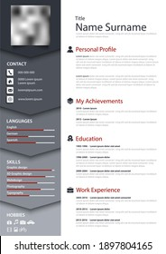 Professional personal resume cv with bookmarks in blue gray design