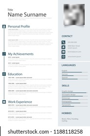 Professional personal resume cv in the light blue design