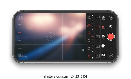 Professional Photo And Video Camera Premium Mobile App With Advanced Settings UI Concept Mock Up On Realistic Frameless Smartphone Screen Isolated on White Background. Mobile Photography
