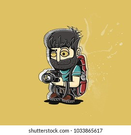 Professional photographer with camera. Flat style vector illustration isolated on black background.