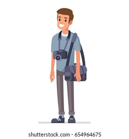Professional  photographer with camera. Flat style vector illustration isolated on white background.