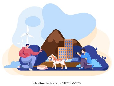 Professional photographer makes pictures of woman feeding a dog with the donut. Evening photo session in the city. Couple of people and dog with the mountains and skyscrapers on the background