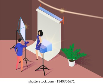 Professional Photographer Shooting Fashion Model in Photo Studio. Photography Equipment. Reflector, Light. Young Woman Posing in Photostudio, Photo Assistant 3D Isometric Vector Illustration