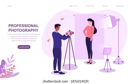 Professional photographer shooting female model. Model poses for magazine cover, banner. Photoshoot with lights, background. Website, web page, landing page template. Flat cartoon vector illustration