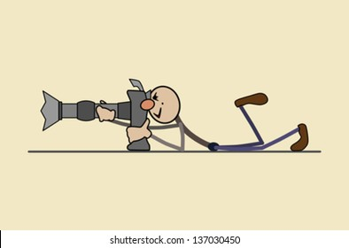 professional photographer takes a good picture Photographer stands. Keeps hands big camera. Makes a beautiful picture. suitable for printing, website, advertising.