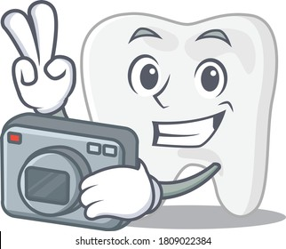 a professional photographer tooth cartoon picture working with camera