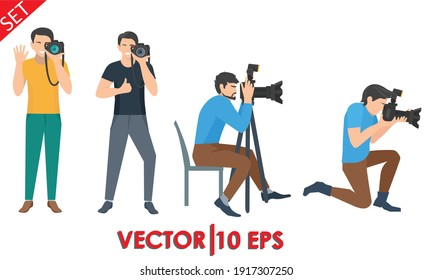 Professional Photographer Vector. Male In Different Poses. Vector illustration eps10.