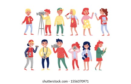 Professional Photographers, Operators, Journalists, Paparazzi And Bloggers At Work In Event Vector Illustration Set Isolated On White Background