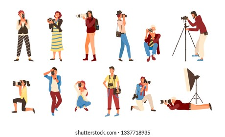 Professional photographers vector, set of people holding cameras. Pictures made by employees , photographs by cameraman. Man and woman experts job