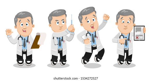 Professional physician, doctor in lab coat with stethoscope on neck holding clipboard, syringe with medicine, list of contraindications, jumping for joy. Cartoon vector set isolated on white.