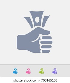 Professional, pixel-perfect fist full of cash icons.