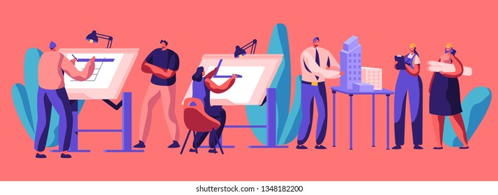 Professional Planning Architecture of House. Character Engineering. Construction Development and Building Layout. Flat Cartoon Vector Illustration