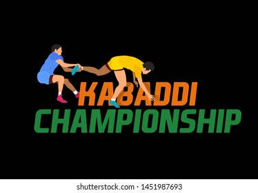 Professional players playing Kabaddi Championship banner, poster, logo design  concept, template, label, card, greeting, icon, sale, offer, web header, mnemonic on dark background - Vector, Graphic