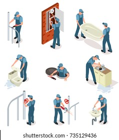 Professional plumber in blue uniform fixes sanitary engineering and pipes isolated cartoon isometric vector illustrations set on white background.