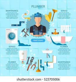 Professional plumber infographic plumbing service different tools and accessories, pipe repair, elimination of leaks. infographics call plumber