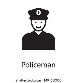 Professional police officer in solid design
