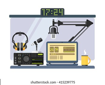 Professional radio station studio