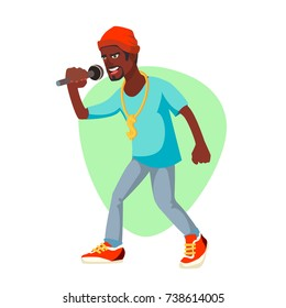 Professional Rapper Vector. Male Singer With Microphone. Cartoon Character Illustration
