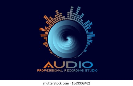Professional Recording Studio Emblem, DJ Party Logo, Graphic Equaliser with Spiral Circle and Company Text, Orange and Blue Gradient texture on Dark Blue Background.