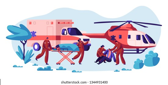 Professional Rescue Team Care your Life. Fast Transport, Helicopter and Vehicle Healthcare Character from Accident and Transportation to Hospital Urgent. Flat Cartoon Vector Illustration