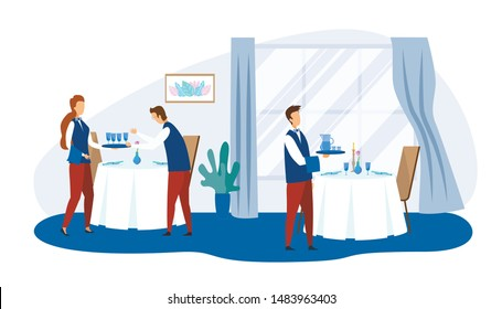 Professional Restaurant Staff Cartoon Characters at Work. Waiter and Waitress with Trays Serving Table with Food in Dish and Drinks in Glassware. Preparation for Banquet. Vector Flat Illustration