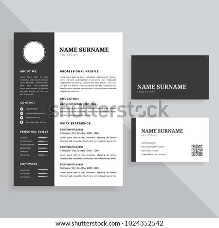 Professional resume cv business card template stock vector royalty professional resume cv and business card template design set colourmoves