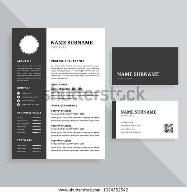 Professional Resume Cv Business Card Template Stock Image
