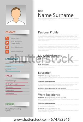 professional resume cv template のベクター画像素材 ロイヤリティ