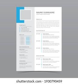 Professional Resume Template Vector Design