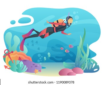 Professional Scuba Diver man dives in the ocean. Underwater swiming. Summer vacation concept of sport active holidays.