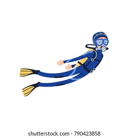 Professional scuba diver swimming underwater. Cartoon man character in special diving costume, mask, flippers and equipment for breathing on back. Flat vector design