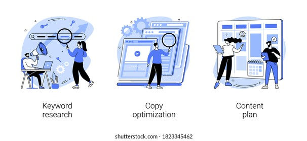 Professional SEO services abstract concept vector illustration set. Keyword research, copy optimization, content plan, web campaign, search engine, online social media planner abstract metaphor.