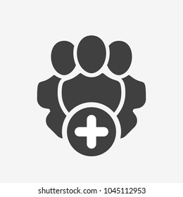 Professional services icon with add sign. Professional services icon and new, plus, positive symbol. Vector icon