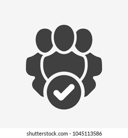 Professional services icon with check sign. Professional services icon and approved, confirm, done, tick, completed symbol. Vector icon
