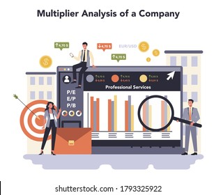 Professional services sector of the economy online service or platform set. Human resourses and employment. Multiplier analysis of a company. Isolated flat vector illustration