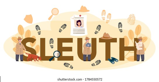 Professional sleuth typographic header. Agent investigating a crime place. Person solving crime by talking to witness and collecting physical evidence. Isolated flat vector illustration