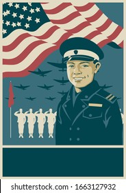 Professional Soldier, Army Propaganda Poster Template, Planes, USA Flag, Recruit